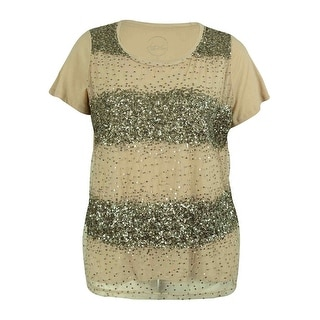 INC International Concepts Women's Sequin Short Sleeve Tee