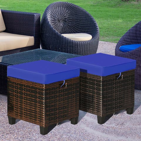 Costway 2PCS Patio Rattan Ottoman Cushioned Seat Foot Rest Coffee
