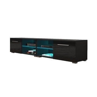 "Moon 40.5""-81"" TV Stand Matte Body High Gloss Doors with 16 Color LEDs"