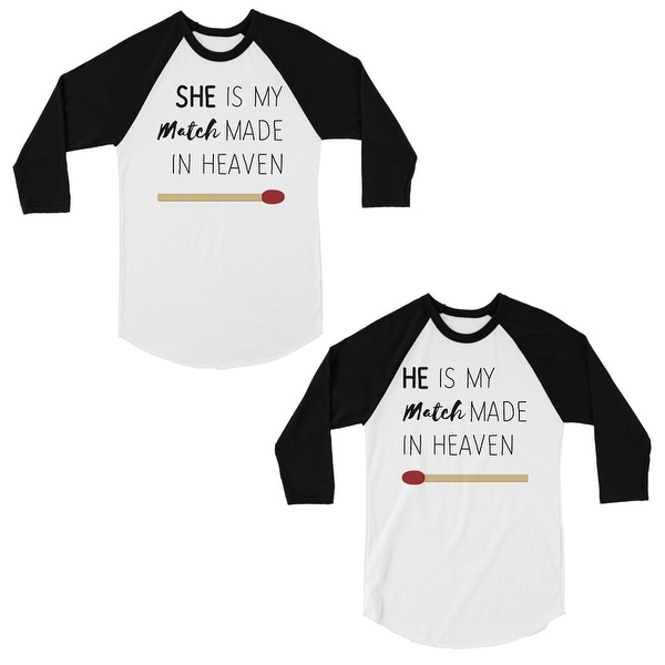 fcd0e6bf63 Shop Match Made In Heaven Cute Matching Couples Baseball Shirts Gift ...