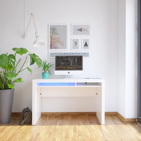 Contemporary High Gloss Desk with Wireless / USB Charge and LED Lighting