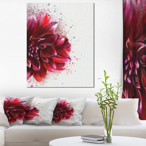 Designart 'Dark Red Watercolor Rose Flower' Floral Canvas Artwork Print