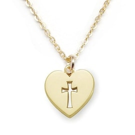 Julieta Jewelry Cross Heart Plate Cutout Charm Necklace