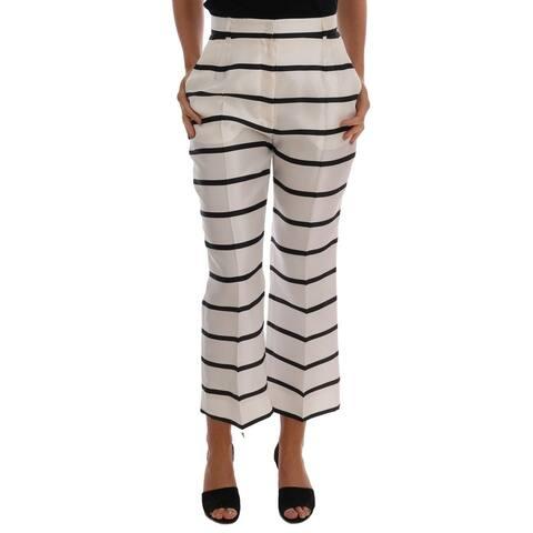 Dolce & Gabbana White Black Striped Silk Women's Pants - it40-s