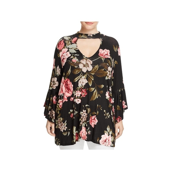 Alison Andrews Womens Plus Gigi Choker Top Floral Bell Sleeve
