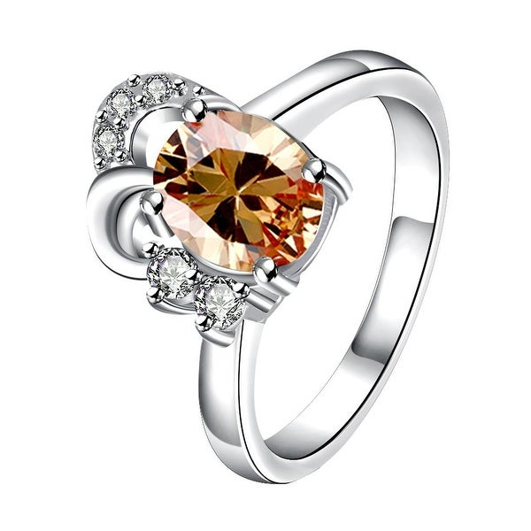 Petite Orange Citrine Curved Jewels Covering Classic Ring