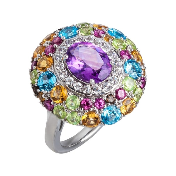 5 3/8 ct Multi-Stone Cocktail Ring in Sterling Silver - Purple