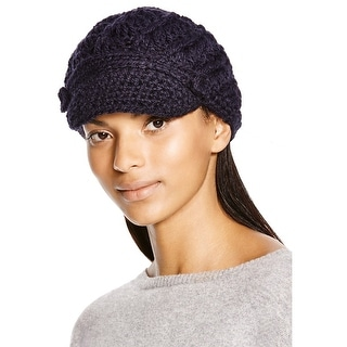Aqua Ladies Hand Made Navy Blue Visor Knit Cap Made In Italy