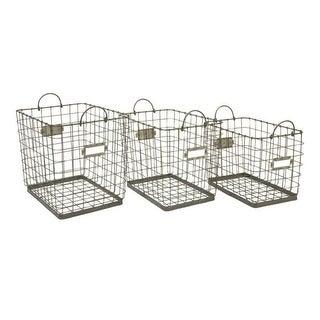 Set of 3 Metal Wire with Handles Decorative Storage Baskets