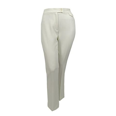 ANNE KLEIN Womens Ivory Flare Wear To Work Pants Size 14