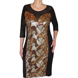 Funfash Plus Size Clothing Black Gold Sequins Beaded Cocktail Dress Made in USA