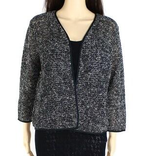 Alfani NEW Gray Women's Medium M Open Front Textured Cardigan Sweater