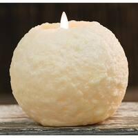 """Round Cake LED Candle, Ivory, 5.25"""""""