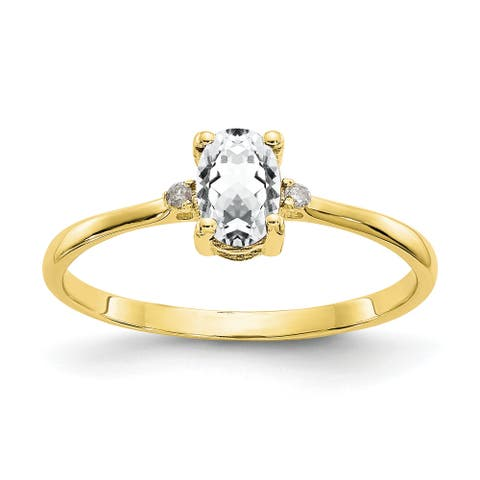 10K Yellow Gold Polished Geniune Diamond and White Topaz Birthstone Ring by Versil