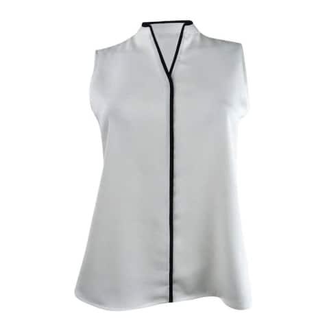 Calvin Klein Women's Petite Split-Neck Contrast-Trim Top