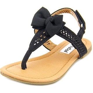 Not Rated Junbow Toddler Open-Toe Canvas Black Slingback Sandal