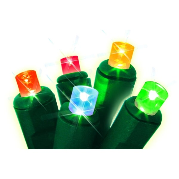 Set of 50 Multi-Colored Always Lite Commercial Grade Wide Angle Twinkle Christmas Lights - Green Wire