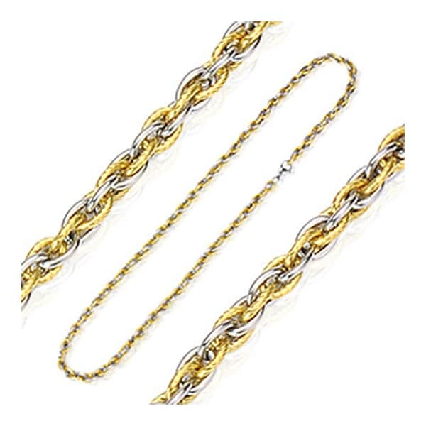 Stainless Steel Tri-Link Two Tone Plated Gold Chain (7 mm) - 24 in