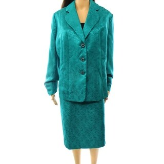 Kasper NEW Green Jade Women's Size 20W Plus Jacquard Skirt Suit Set