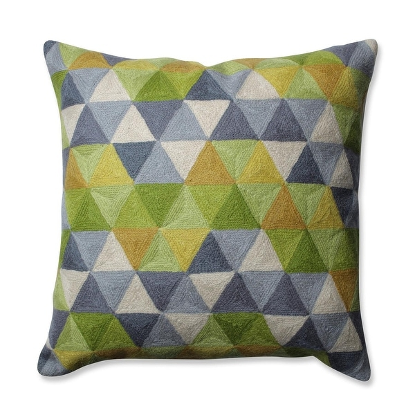 """16.5"""" Slate Gray Lime Green and Cream White Triangle Grid Pattern Square Throw Pillow"""