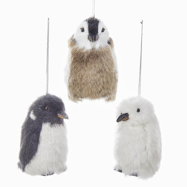 Pack of 12 Furry Black, Brown and White Arctic Penguins Animal Christmas Ornaments 3.25""