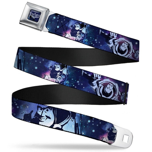 Space Ranger Logo Outline Full Color Blue White Buzz Lightyear Poses Galaxy Seatbelt Belt