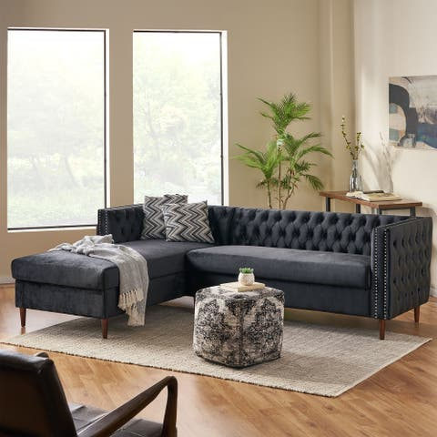 Holcomb Contemporary Tufted Velvet Sectional Sofa with Storage Chaise Lounge by Christopher Knight Home