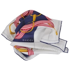 New Gucci Women's 352213 Silk Cream Blue Interlocking GG Twill Neck Scarf