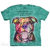 The Mountain Cotton Pit Bull Smile Design Novelty Adult T-Shirt (Blue)