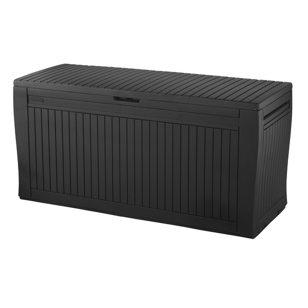 Keter Comfy Resin 71-gallon Deck Box Storage Bench. Opens flyout.