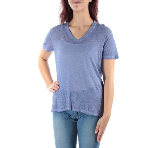 ANNE KLEIN Womens Light Blue Short Sleeve V Neck Top Size: M