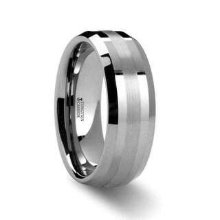 THORSTEN - HALSTEN Platinum Inlaid Beveled Tungsten Carbide Wedding Ring - 6mm