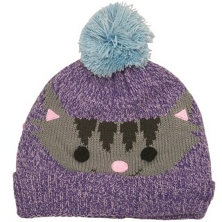 Gold Medal Girls Purple Light Blue Cat Face Pom-Pom Accent Knit Beanie Hat