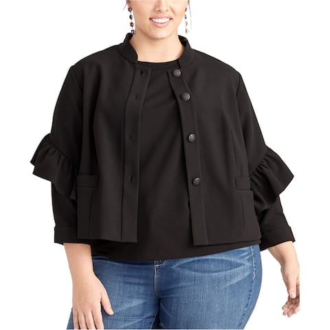 Rachel Roy Womens Ruffle Jacket, black, 1X