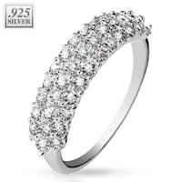 Triple Lined CZ Half Circle .925 Sterling Silver with Authentic Rodium Finish Ring (Sold Ind.)