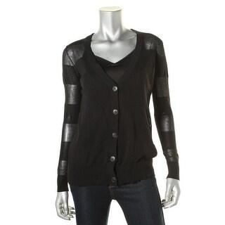 Halston Heritage Womens Sheer Long Sleeves Cardigan Top - XS