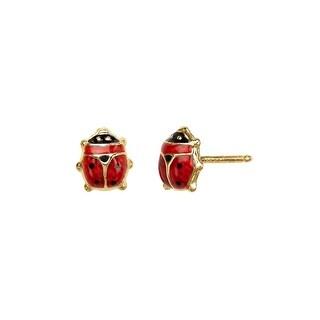 Girl's Lady Bug Earrings in 14K Gold - multi-color
