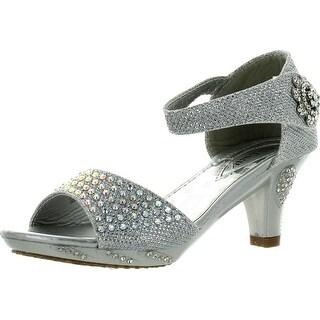 Lucita Girls Dress Shoes Jan-2Km Rhinestone Heel Platform Dress Sandals Silver