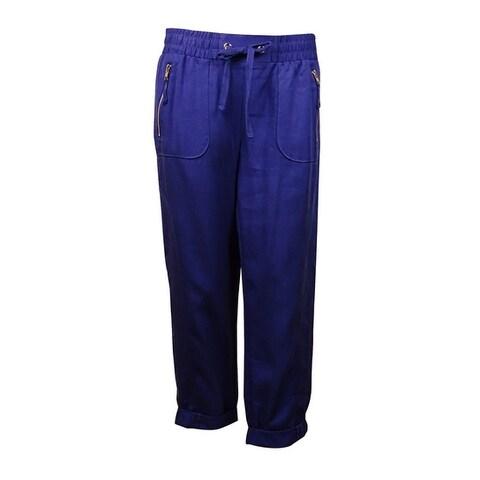 INC International Concepts Women's Zip-Pocket Drawstring Pants (6, Goddess Blue) - Goddess Blue - 6
