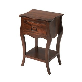 Transitional Antique Walnut Rectangular Wooden Nightstand - Dark Brown