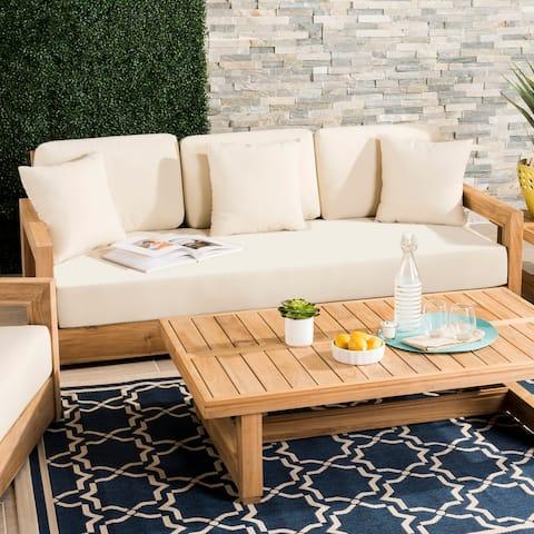 Safavieh Couture Montford Brown/ Beige 3-seat Outdoor Sofa