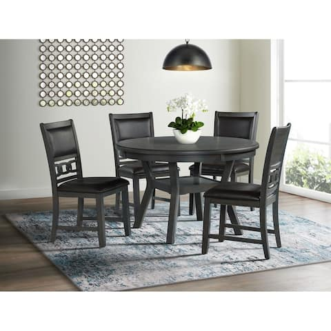 Picket House Furnishings Taylor Standard Height Faux Leather Side Chair Set in Gray