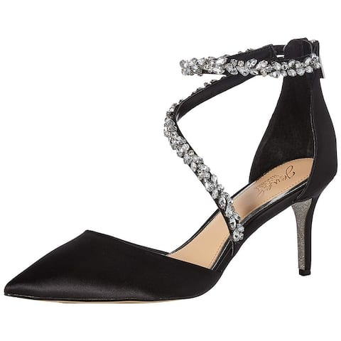 BADGLEY MISCHKA Womens Jaylah Fabric Pointed Toe Ankle Strap Classic Pumps