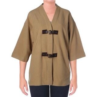 MICHAEL Michael Kors Womens Plus Wool Buckle Front Sweatercoat
