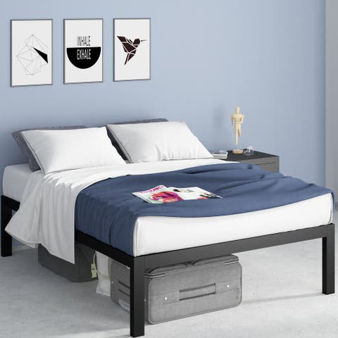 Priage by ZINUS Black Metal Platform Bed Frame