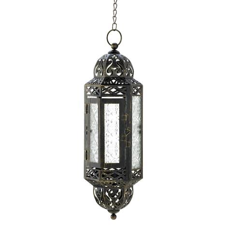 Intricate Hanging Moroccan Lantern - Black