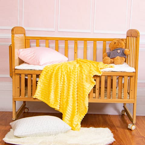 """NTBAY Super Soft Cozy Solid Color Reversible Flannel Baby Blanket, Lightweight Striped Pattern Travel Blanket 30"""" x 40"""""""