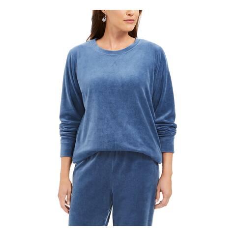 KAREN SCOTT Womens Blue Long Sleeve Jewel Neck Sweater Size XS