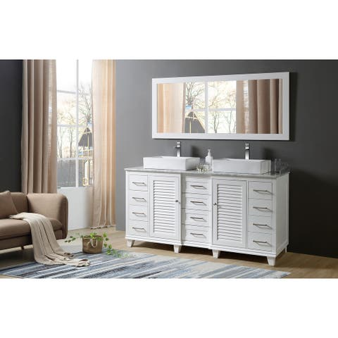 Ultimate Shutter 72 In. Vanity In White With Carrara White Marble Vanity Top with vessel sinks