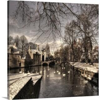 Yvette Depaepe Premium Thick-Wrap Canvas entitled Bruges In Christmas Dress